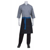 Chef Works | Black Wide Half Apron With Blue Ties