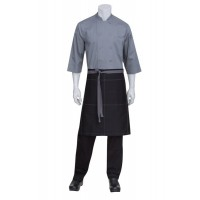 Chef Works | Black Wide Half Apron With Grey Ties
