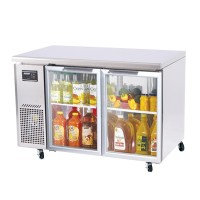 Skipio | 2 Door Glass Under Counter Fridge